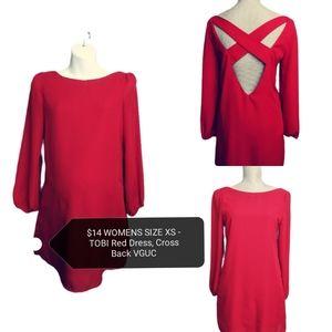 SIZE XS TOBI Red Dress, Cross Back VGUC
